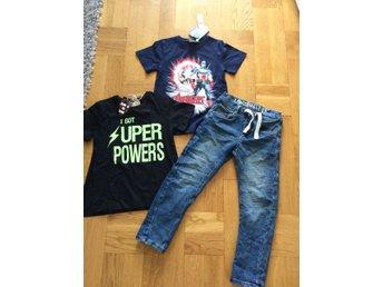 Joggerjeans Stl 116 och 2 nya t-shirt Avengers bl a 110/116 - Solna - Joggerjeans Stl 116 och 2 nya t-shirt Avengers bl a 110/116 - Solna