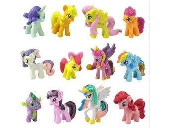 12Pcs/Lot of My Little Pony Funny Cake Toppers Doll Action Figures Kids Girl Toy