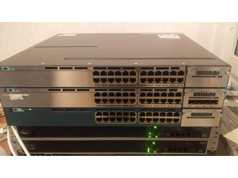 Cisco switch layer 3 Catalyst 3750x WS-C3750X-24T-L power och nät stackade