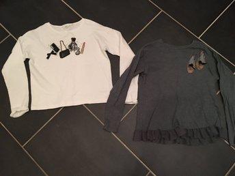 Javascript är inaktiverat. - Gislaved - Två jättefina långärmade tröjor. Den vita från KappAhl. Väldigt fin med fina detaljer på bröstet..... rosett, handväska, läppstift m.m.Endast använd 2-3 gånger. Stl: 146/152Den gröna från Zara Kids. Med ballerina skor på bröste - Gislaved