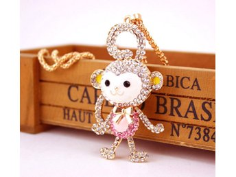 Fashion Pink Crystal Monkey Necklace