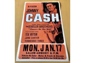 JOHNNY CASH IN PERSON SALEM ARMORY 1966 PHOTO POSTER