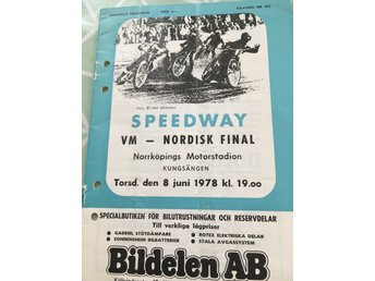 Speedway program VM - Nordisk final 78