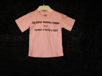 Barn T-Shirt - Farmor&Farfar - Rosa - Strl 90