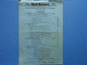 Program Kyrkkonsert Oscarshamn 1885