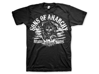 SOA B/W DISTRESSED FLAG T-SHIRT STL S