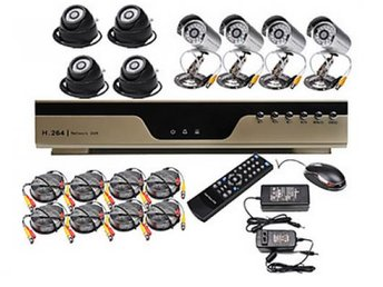 8 Kanals H.264 CCTV DVR Kit (med 8 CMOS Night vision Kameror)