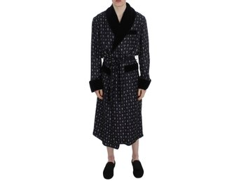 Dolce & Gabbana - Blue Cross Print Silk Sleepwear Robe