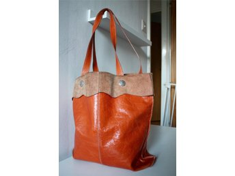 Vintage ORANGE LÄDER KASSE VÄSKA SHOPPER  60 70 tal retro