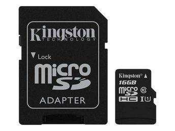Kingston 16GB microSDHC Klass 10 UHS-I 45MB/s läs, inkl SD Adapter - Höganäs - Kingston 16GB microSDHC Klass 10 UHS-I 45MB/s läs, inkl SD Adapter - Höganäs