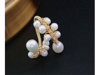 Modernist Genuine Natural Pearls Ring In 14K Yellow Gold Plated MR0004
