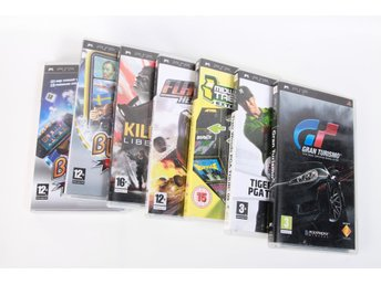7 st PSP-spel (Gran Turismo/Flatout/Tiger Woods/Killzone/Buzz/Midway Arcade)