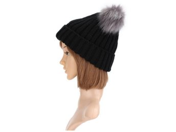 Women Outdoor Knitted Double Fur Pom Pom Beanie Cap Warm ...
