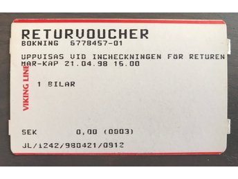 Viking Line- Returvoucher - Bil