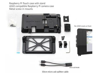 "Raspberry Pi 7"" Touchscreen Case - Black (no Lego studs on front)"