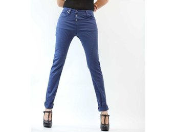 PLEASE Jeans P78 ADT6TD Woman 3 buttons Boyfriend Baggy Blue Persian L