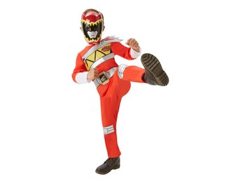 POWER RANGERS 110/116 cl (5-6år) Dino Charge Red Dräkt med mask