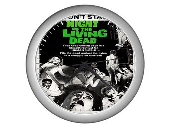 Night Of The Living Dead 1968 Väggklocka Klocka Silver