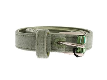 Dolce & Gabbana - Green Cotton Silver Buckle Logo Waist Belt