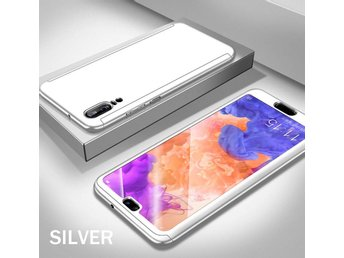 Huawei P20 Lite - 360 Hard Thin Full Case+Tempered Glass Screen Protector-Silver