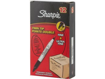 Sharpie Twin Tip Permanent Marker Black Tuck 12-pack