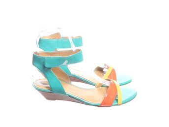 Nine West, Sandaletter, Strl: Ca 40, Turkos/Orange/Flerfärgad