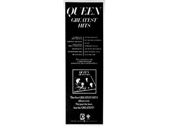 QUEEN - GREATEST HITS, TIDNINGSANNONS 1981