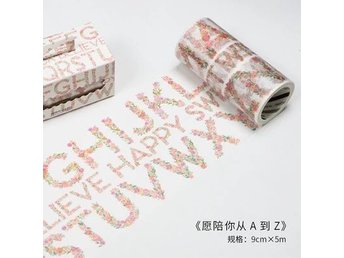 Floral letters illustration - Japanese washitejp washi dekorationstejp tejp