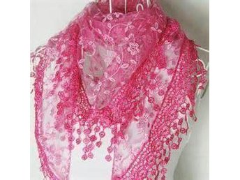 Ny! Spets scarf / sjal – Hot Pink