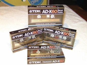 4 TDK AD-X 60 Oanvända inplastade inspelningsbara kassettband av hög kvalitet! - älvsjö - 4 TDK AD-X 60 Oanvända inplastade inspelningsbara kassettband av hög kvalitet! - älvsjö