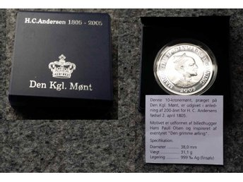 DENMARK-10-KRONER-2005-Silver-1-Oz-0-999-PF-THE-UGLY-DUCKLING-FAIRYTALE. BOX ,CO