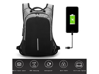Anti Theft Lock Backpack USB Charge Waterproof Laptop Bag Grey