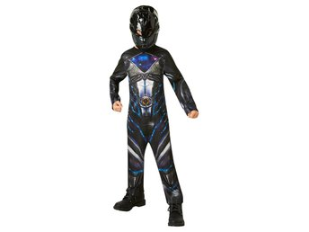 POWER RANGERS 122/128 cl (7-8 år) BLACK RANGER Dräkt med mask