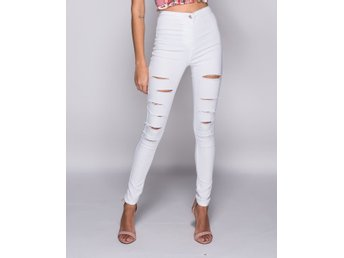 High Waisted White Multi Slash Jeggings L sommar 2018