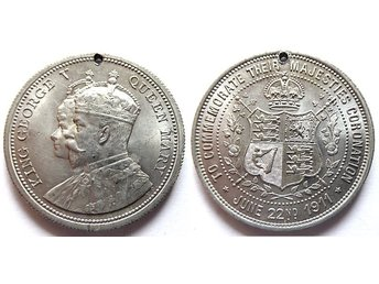 ** King George V Queen Mary – Coronation June 2nd 1911 Lättmetall **