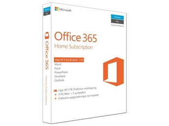 Microsoft Office 365 Home Premium 32-bit/x64 Swedish Nordic Subscription 1 Licen
