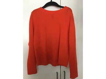 H&M kort stickad tröja, orange, röd divided - stl S