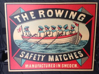 Retro Plansch roddbåt: The rowing safety matches. Motiv fr svensk tändsticksask