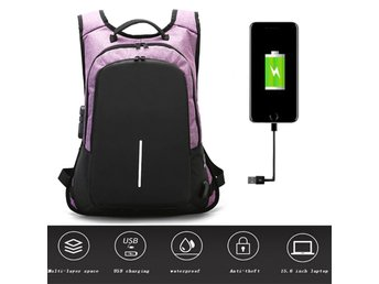 Anti Theft Lock Backpack USB Charge Waterproof Laptop Bag Purple