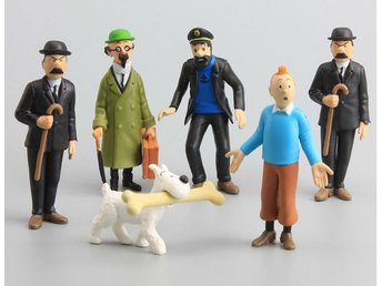 Tintin Adventures Character 6PCS Action Figure Snowy Thomson Captain Haddock Toy