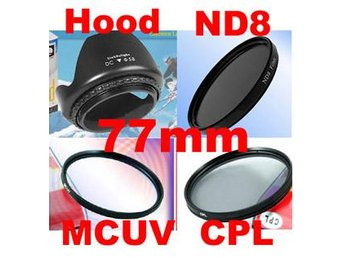 NY!!77mm Filter Paket MC UV+CPL+ND8+Motljusskydd Kamera