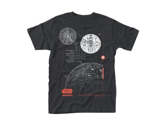 STAR WARS ROGUE ONE BLUE PRINT DEATH STAR T-Shirt - Large