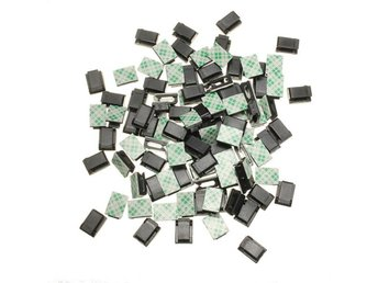 100 Pcs Black Plastic Wire Tie Rectangle CablE-mount Clip...
