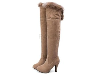Dam Boots Shoes Brand Suede Leather Botas Woman Beige 36