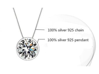 2016 new arrival round design 925 solid sterling silver ladies pendant necklaces