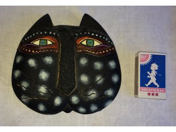 Katt Mask / Ansikte Signerad 1999 Laurel Burch Collection Diameter ca 14 cm