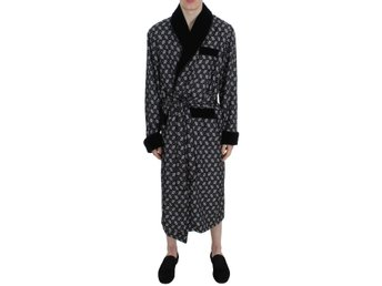 Dolce & Gabbana - Black Sicily Motive Silk Sleepwear Robe