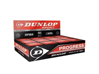 Original Dunlop Progress Red Single Dott Squash Balls, Box 12x ( New & Sealed )