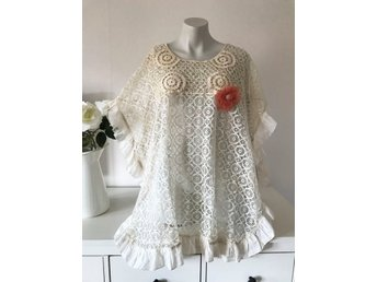 Cream vit poncho cape spets romantisk retro Gatsby charleston shabby chic L XL