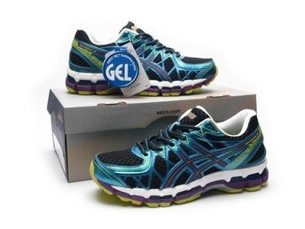 Asics Gel Kayano str 45 svart med blå skor for man